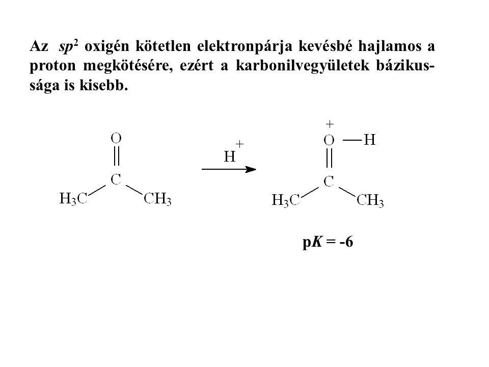 Az sp 2 oxigén kötetlen elektronpárja kevésbé hajlamos a proton megkötésére, ezért a karbonilvegyületek bázikus- sága is kisebb. pK = -6