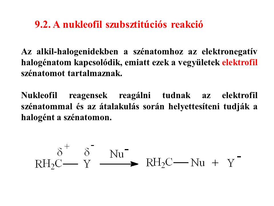 9.2. A nukleofil szubsztitúciós reakció Az alkil-halogenidekben a szénatomhoz az elektronegatív halogénatom kapcsolódik, emiatt ezek a vegyületek elek
