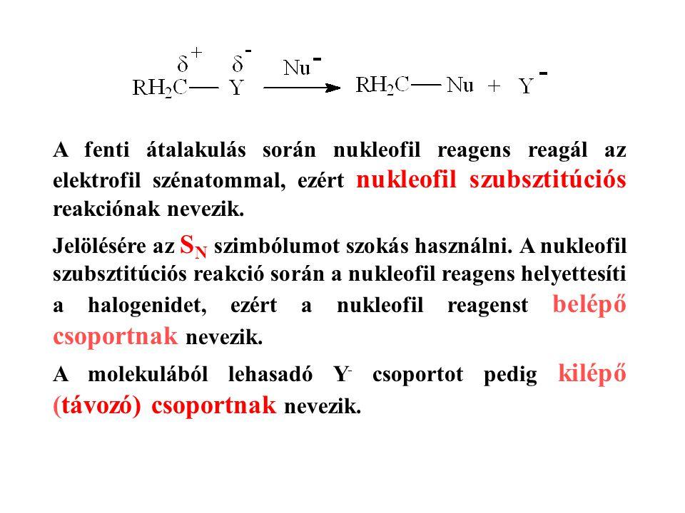 A fenti átalakulás során nukleofil reagens reagál az elektrofil szénatommal, ezért nukleofil szubsztitúciós reakciónak nevezik. Jelölésére az S N szim