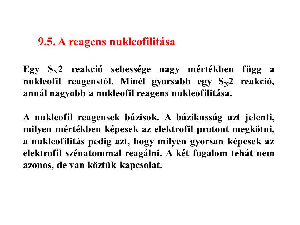 9.5. A reagens nukleofilitása Egy S N 2 reakció sebessége nagy mértékben függ a nukleofil reagenstől. Minél gyorsabb egy S N 2 reakció, annál nagyobb