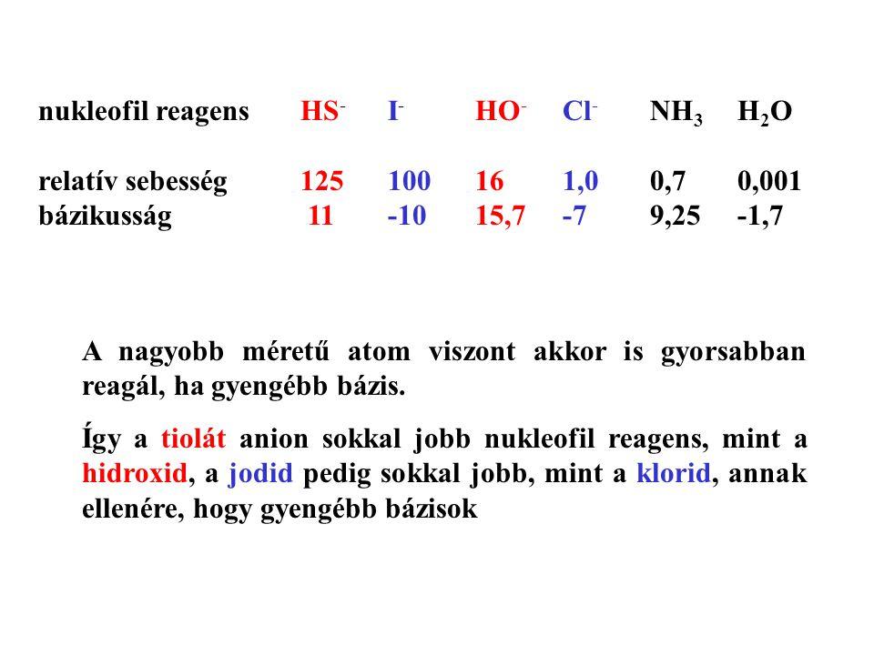 A nagyobb méretű atom viszont akkor is gyorsabban reagál, ha gyengébb bázis. Így a tiolát anion sokkal jobb nukleofil reagens, mint a hidroxid, a jodi