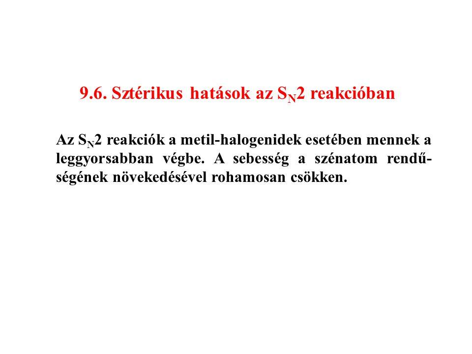 9.6. Sztérikus hatások az S N 2 reakcióban Az S N 2 reakciók a metil-halogenidek esetében mennek a leggyorsabban végbe. A sebesség a szénatom rendű- s
