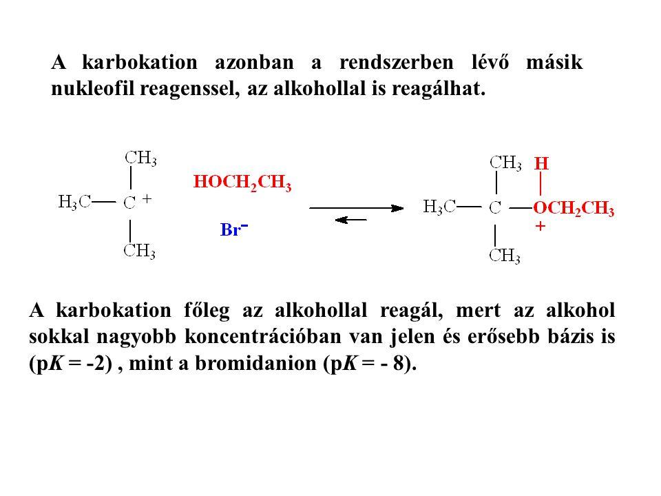 A karbokation azonban a rendszerben lévő másik nukleofil reagenssel, az alkohollal is reagálhat. A karbokation főleg az alkohollal reagál, mert az alk