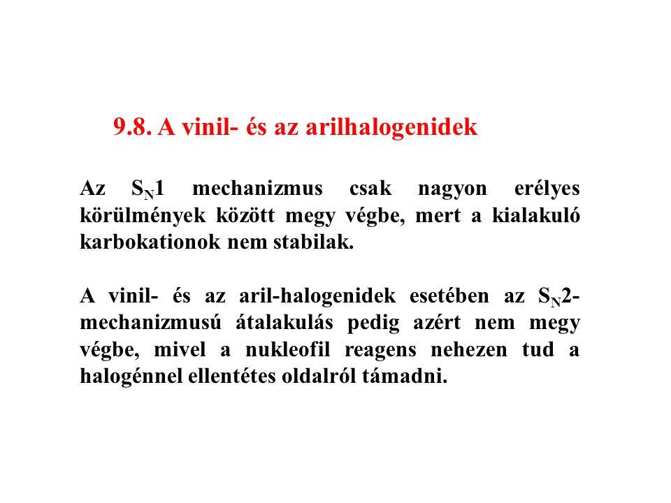 9.8. A vinil- és az arilhalogenidek Az S N 1 mechanizmus csak nagyon erélyes körülmények között megy végbe, mert a kialakuló karbokationok nem stabila