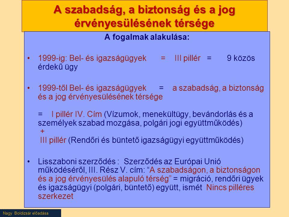 Nagy Boldizsár előadása A szabadság, a biztonság és a jog érvényesülésének térsége A fogalmak alakulása: 1999-ig: Bel- és igazságügyek = III pillér = 9 közös érdekű ügy 1999-től Bel- és igazságügyek = a szabadság, a biztonság és a jog érvényesülésének térsége = I pillér IV.
