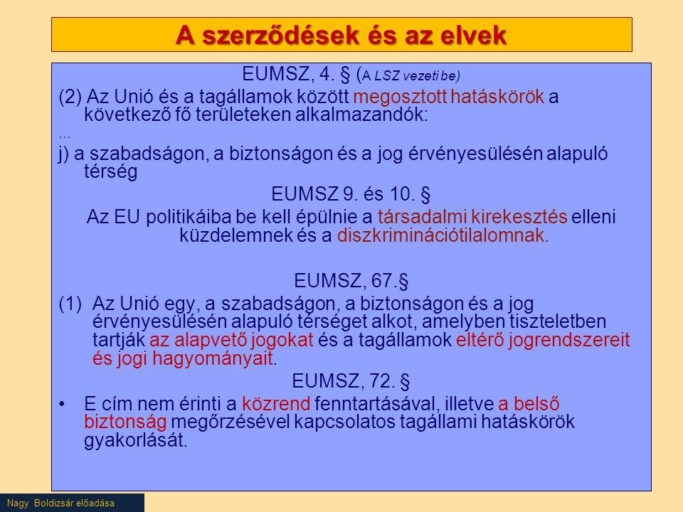 Nagy Boldizsár előadása A szerződések és az elvek EUMSZ, 4.