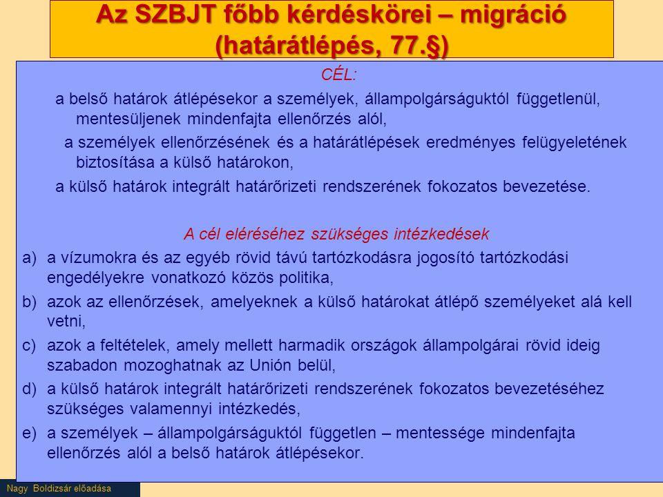 Nagy Boldizsár előadása Az SZBJT főbb kérdéskörei – migráció (határátlépés, 77.§) CÉL: a belső határok átlépésekor a személyek, állampolgárságuktól függetlenül, mentesüljenek mindenfajta ellenőrzés alól, a személyek ellenőrzésének és a határátlépések eredményes felügyeletének biztosítása a külső határokon, a külső határok integrált határőrizeti rendszerének fokozatos bevezetése.