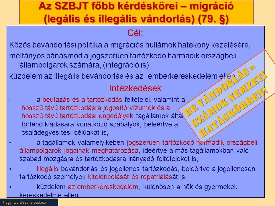 Nagy Boldizsár előadása Az SZBJT főbb kérdéskörei – migráció (legális és illegális vándorlás) (79.