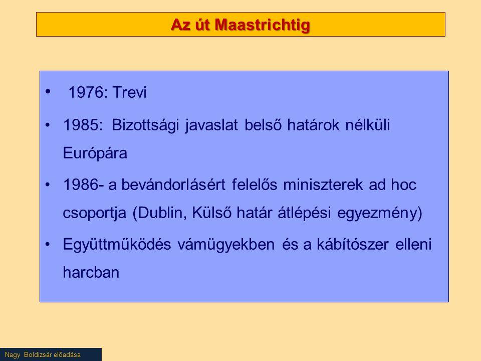 Az út Maastrichtig 1976: Trevi 1985: Bizottsági javaslat belső határok nélküli Európára 1986- a bevándorlásért felelős miniszterek ad hoc csoportja (Dublin, Külső határ átlépési egyezmény) Együttműködés vámügyekben és a kábítószer elleni harcban