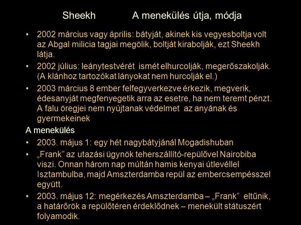 Sheekh A menekülés útja, módja 2002 március vagy április: bátyját, akinek kis vegyesboltja volt az Abgal milicia tagjai megölik, boltját kirabolják, e