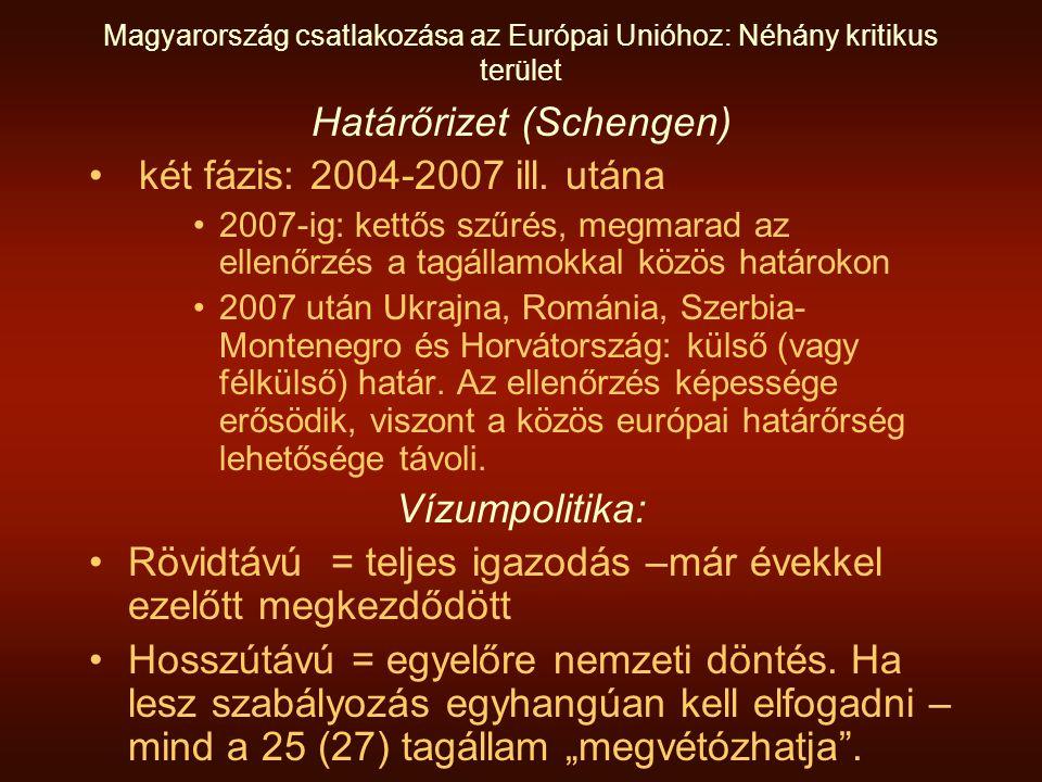 Magyarország csatlakozása az Európai Unióhoz: Néhány kritikus terület Határőrizet (Schengen) két fázis: 2004-2007 ill.