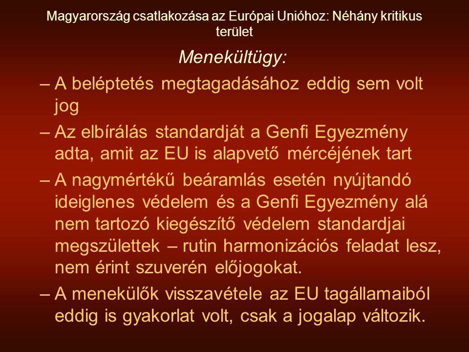 Magyarország csatlakozása az Európai Unióhoz: Néhány kritikus terület Menekültügy: –A beléptetés megtagadásához eddig sem volt jog –Az elbírálás standardját a Genfi Egyezmény adta, amit az EU is alapvető mércéjének tart –A nagymértékű beáramlás esetén nyújtandó ideiglenes védelem és a Genfi Egyezmény alá nem tartozó kiegészítő védelem standardjai megszülettek – rutin harmonizációs feladat lesz, nem érint szuverén előjogokat.