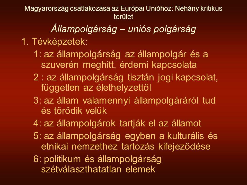 Magyarország csatlakozása az Európai Unióhoz: Néhány kritikus terület Állampolgárság – uniós polgárság 1.