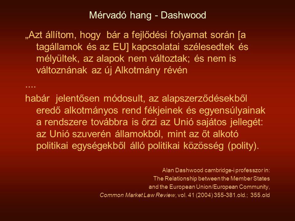 """Mérvadó hang - Dashwood """"Azt állítom, hogy bár a fejlődési folyamat során [a tagállamok és az EU] kapcsolatai szélesedtek és mélyültek, az alapok nem változtak; és nem is változnának az új Alkotmány révén...."""