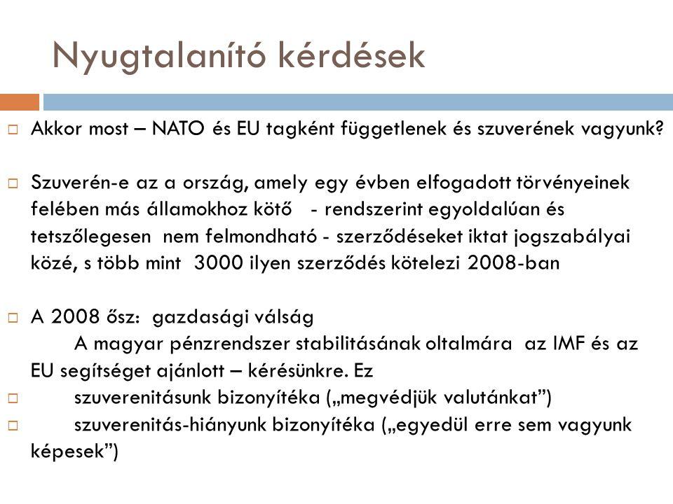 Nyugtalanító kérdések  Akkor most – NATO és EU tagként függetlenek és szuverének vagyunk?  Szuverén-e az a ország, amely egy évben elfogadott törvén