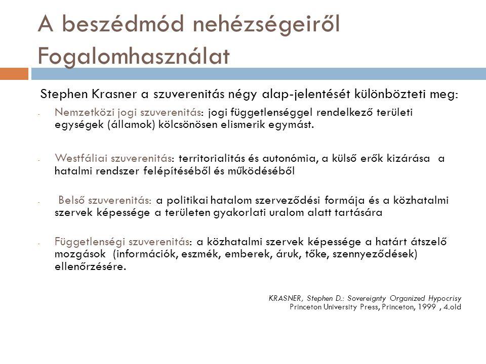 A beszédmód nehézségeiről Fogalomhasználat Stephen Krasner a szuverenitás négy alap-jelentését különbözteti meg: - Nemzetközi jogi szuverenitás: jogi