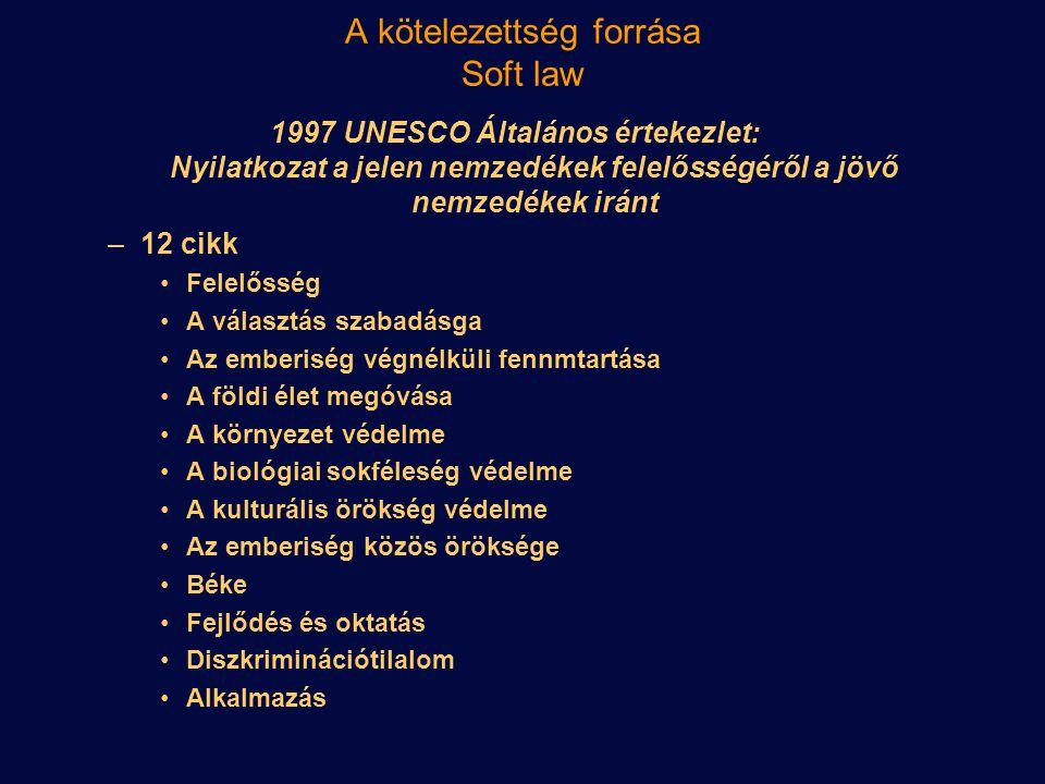 A kötelezettség forrása Soft law 1997 UNESCO Általános értekezlet: Nyilatkozat a jelen nemzedékek felelősségéről a jövő nemzedékek iránt –12 cikk Fele