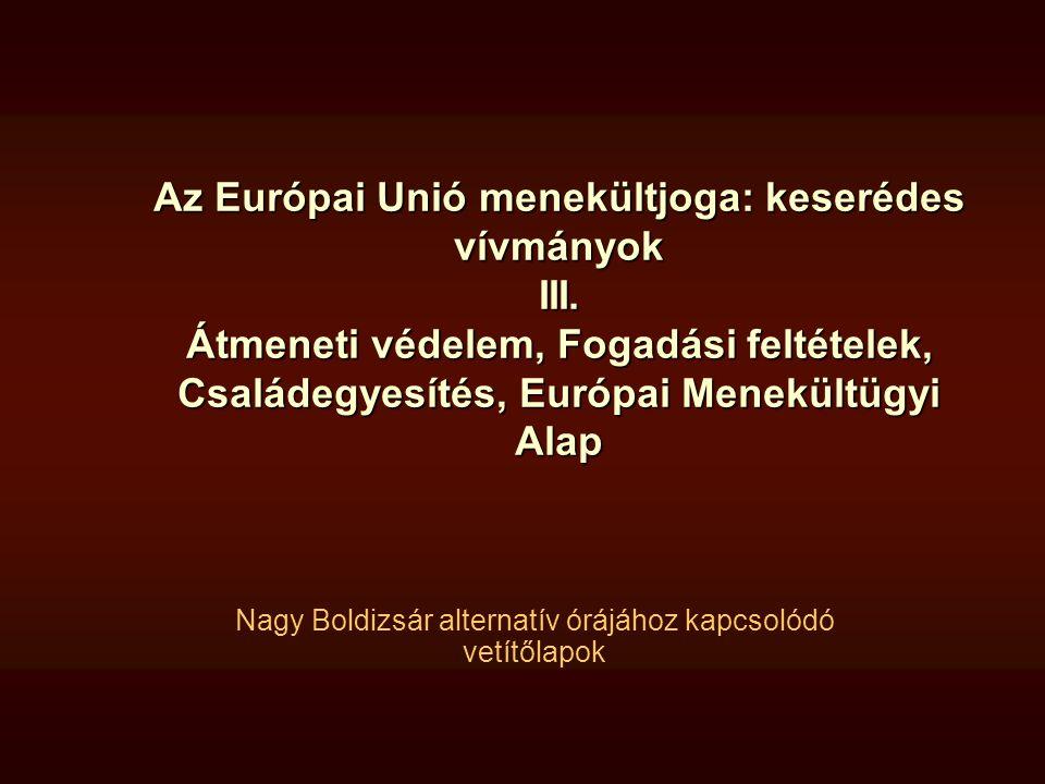 Az Európai Unió menekültjoga: keserédes vívmányok III. Átmeneti védelem, Fogadási feltételek, Családegyesítés, Európai Menekültügyi Alap Nagy Boldizsá