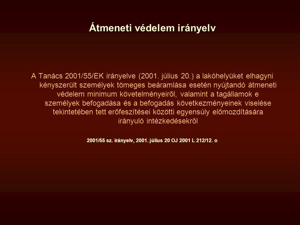 Átmeneti védelem irányelv A Tanács 2001/55/EK irányelve (2001. július 20.) a lakóhelyüket elhagyni kényszerült személyek tömeges beáramlása esetén nyú