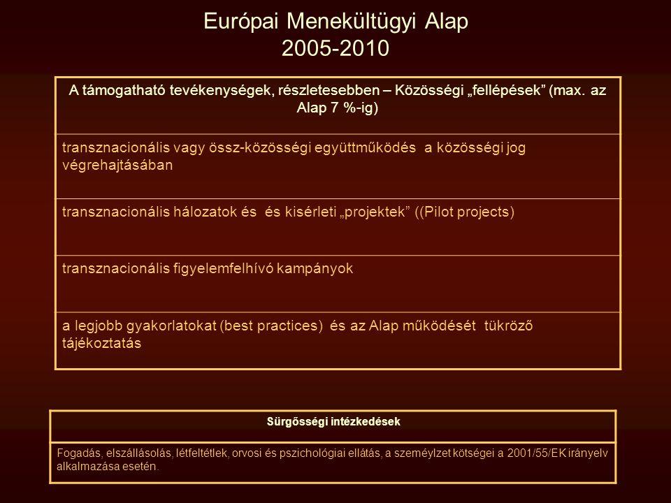 """Európai Menekültügyi Alap 2005-2010 A támogatható tevékenységek, részletesebben – Közösségi """"fellépések"""" (max. az Alap 7 %-ig) transznacionális vagy ö"""