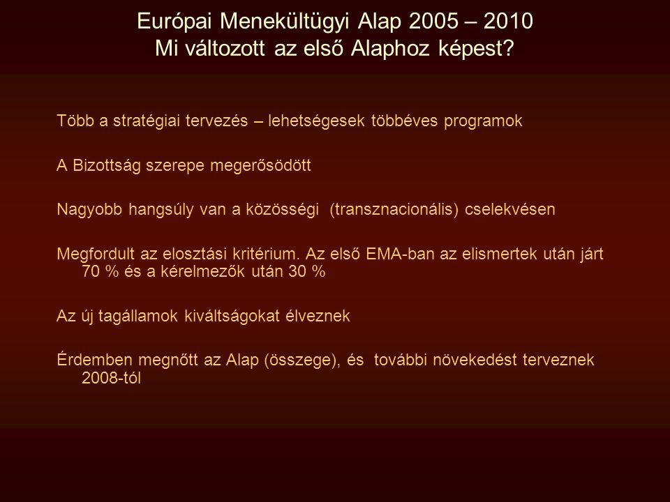 Európai Menekültügyi Alap 2005 – 2010 Mi változott az első Alaphoz képest? Több a stratégiai tervezés – lehetségesek többéves programok A Bizottság sz