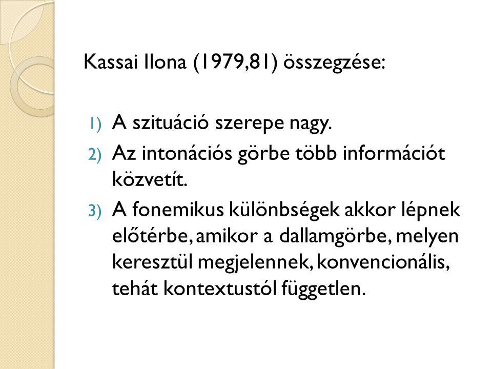 Kassai Ilona (1979,81) összegzése: 1) A szituáció szerepe nagy. 2) Az intonációs görbe több információt közvetít. 3) A fonemikus különbségek akkor lép