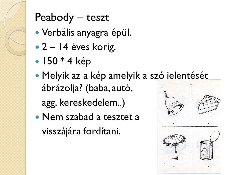 Peabody – teszt Verbális anyagra épül. 2 – 14 éves korig. 150 * 4 kép Melyik az a kép amelyik a szó jelentését ábrázolja? (baba, autó, agg, kereskedel