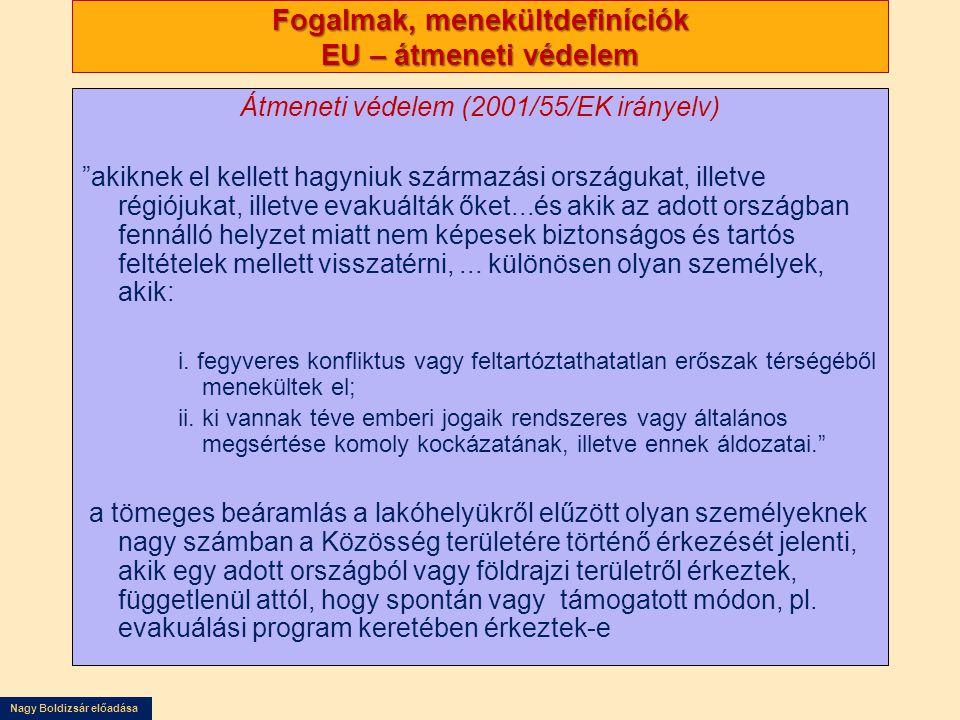 Nagy Boldizsár előadása Fogalmak, menekültdefiníciók EU – átmeneti védelem Átmeneti védelem (2001/55/EK irányelv) akiknek el kellett hagyniuk származási országukat, illetve régiójukat, illetve evakuálták őket...és akik az adott országban fennálló helyzet miatt nem képesek biztonságos és tartós feltételek mellett visszatérni,...