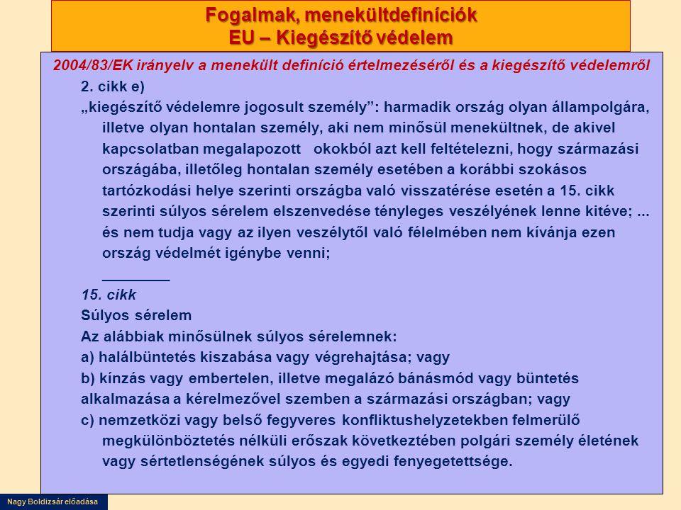 Nagy Boldizsár előadása Fogalmak, menekültdefiníciók EU – Kiegészítő védelem 2004/83/EK irányelv a menekült definíció értelmezéséről és a kiegészítő v