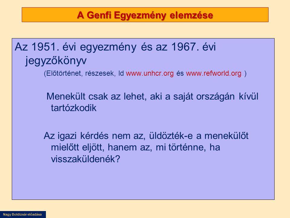 Nagy Boldizsár előadása A Genfi Egyezmény elemzése Az 1951. évi egyezmény és az 1967. évi jegyzőkönyv (Előtörténet, részesek, ld www.unhcr.org és www.