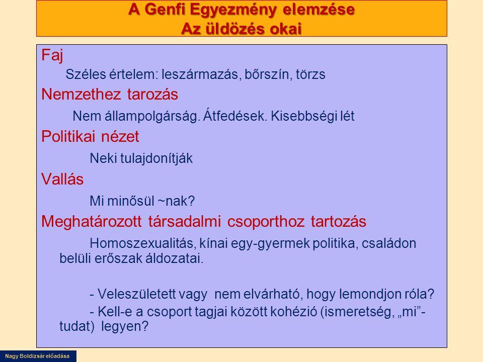Nagy Boldizsár előadása A Genfi Egyezmény elemzése Az üldözés okai Faj Széles értelem: leszármazás, bőrszín, törzs Nemzethez tarozás Nem állampolgársá