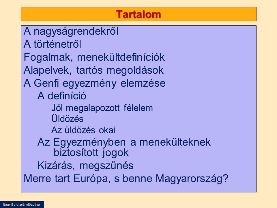 Nagy Boldizsár előadása A védett személyek száma az Európai Unióban 2007 végén : 1,4 millió volt.