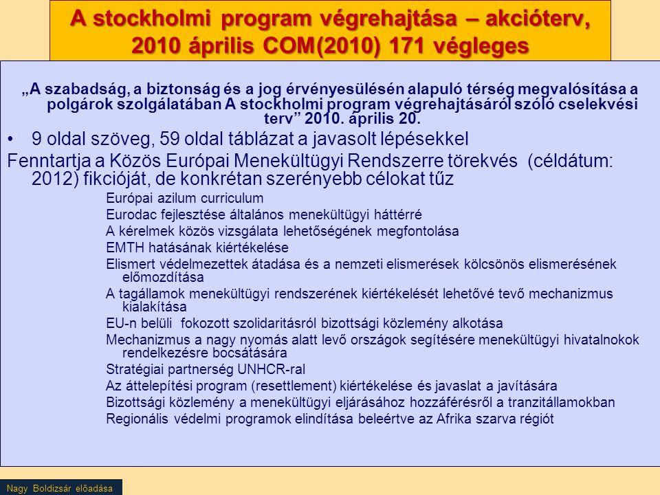 """Nagy Boldizsár előadása A stockholmi program végrehajtása – akcióterv, 2010 április COM(2010) 171 végleges """"A szabadság, a biztonság és a jog érvényes"""