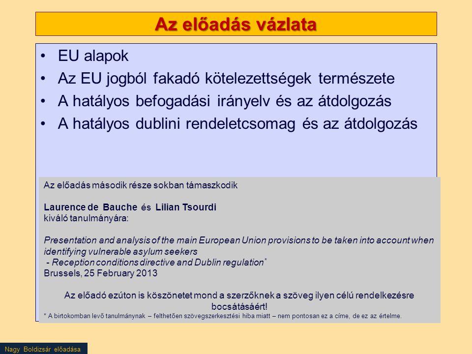 Nagy Boldizsár előadása Az előadás vázlata EU alapok Az EU jogból fakadó kötelezettségek természete A hatályos befogadási irányelv és az átdolgozás A