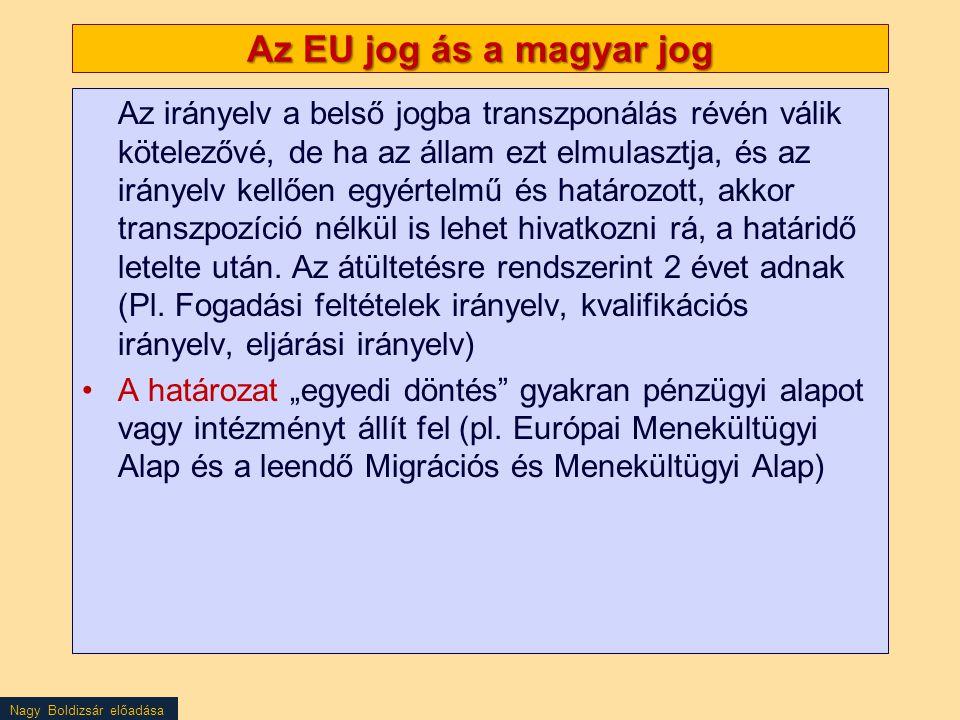 Nagy Boldizsár előadása Az EU jog ás a magyar jog Az irányelv a belső jogba transzponálás révén válik kötelezővé, de ha az állam ezt elmulasztja, és a