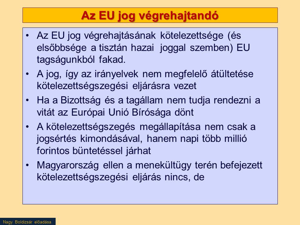 Nagy Boldizsár előadása Az EU jog végrehajtandó Az EU jog végrehajtásának kötelezettsége (és elsőbbsége a tisztán hazai joggal szemben) EU tagságunkbó