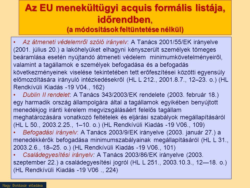 Nagy Boldizsár előadása Az EU menekültügyi acquis formális listája, időrendben, (a módosítások feltüntetése nélkül) Az átmeneti védelemről szóló irány