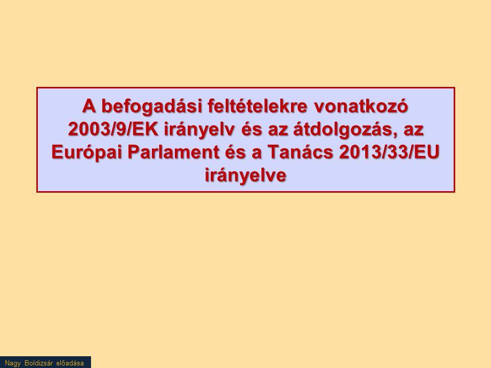 Nagy Boldizsár előadása A befogadási feltételekre vonatkozó 2003/9/EK irányelv és az átdolgozás, az Európai Parlament és a Tanács 2013/33/EU irányelve