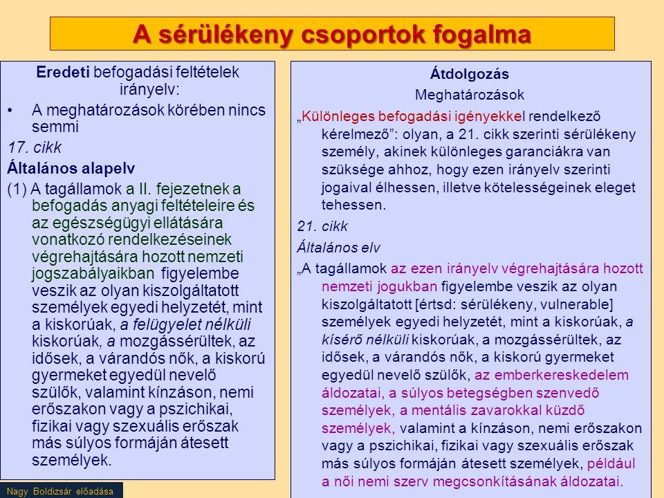 Nagy Boldizsár előadása A sérülékeny csoportok fogalma Eredeti befogadási feltételek irányelv: A meghatározások körében nincs semmi 17. cikk Általános