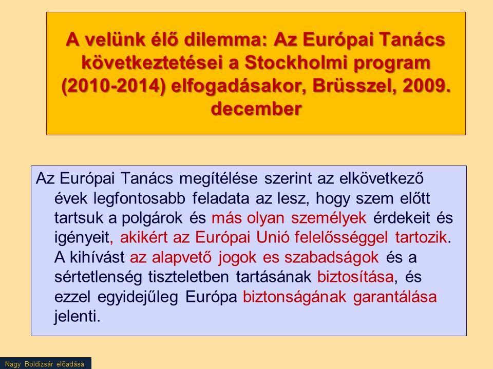 Nagy Boldizsár előadása A velünk élő dilemma: Az Európai Tanács következtetései a Stockholmi program (2010-2014) elfogadásakor, Brüsszel, 2009. decemb
