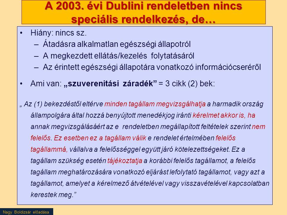 Nagy Boldizsár előadása A 2003. évi Dublini rendeletben nincs speciális rendelkezés, de… Hiány: nincs sz. –Átadásra alkalmatlan egészségi állapotról –