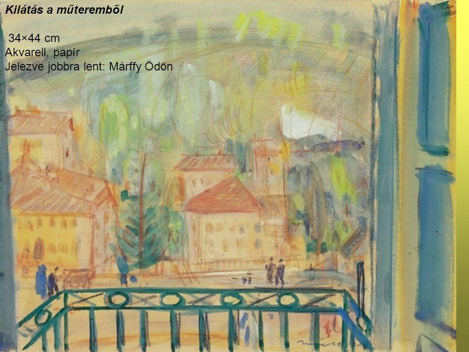 Kilátás a műteremből 34×44 cm Akvarell, papír Jelezve jobbra lent: Márffy Ödön