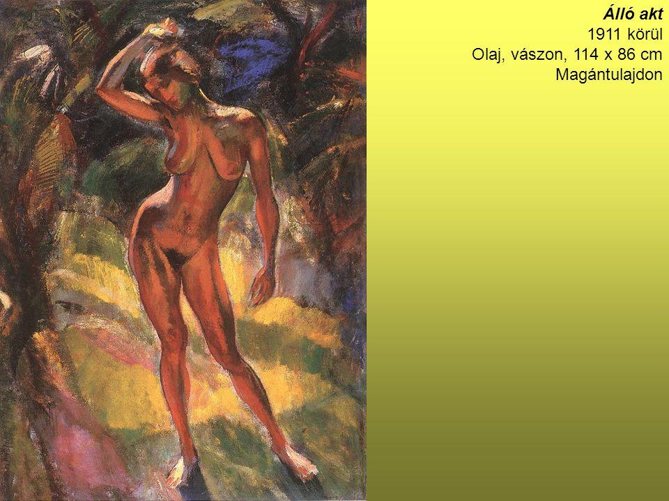 Kalapos férfi zöld sállal 89×68 cm Olaj, vászon Jelezve jobbra lent: Harsányi Kálmán barátomnak Márffy
