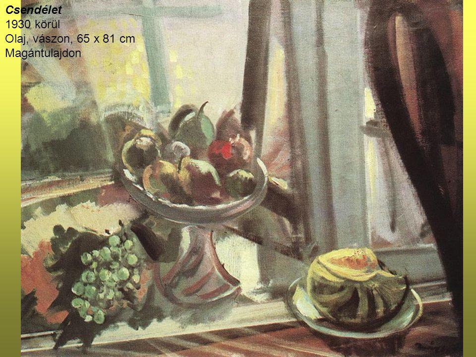 Csipkekendős nő 1930-as évek eleje Olaj, vászon, 81 x 65 cm Magyar Nemzeti Galéria, Budapest A kép Ticharick Zdenka zongoraművésznőt ábrázolja.