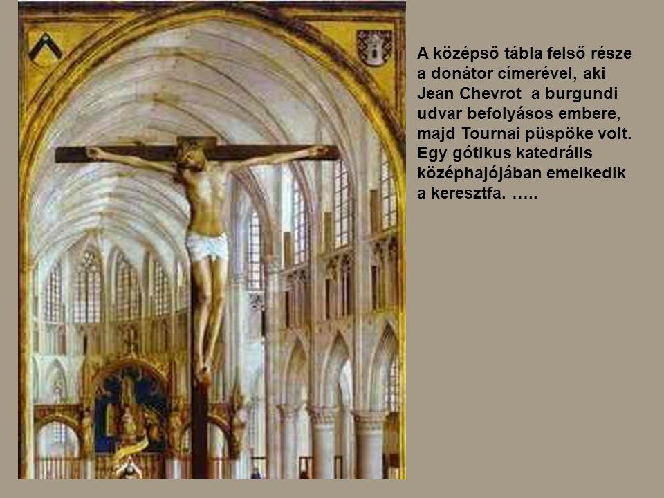 A középső tábla felső része a donátor címerével, aki Jean Chevrot a burgundi udvar befolyásos embere, majd Tournai püspöke volt. Egy gótikus katedráli