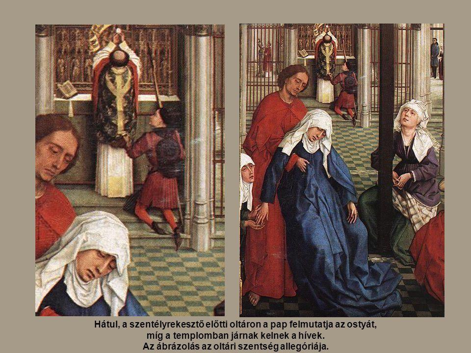 Hátul, a szentélyrekesztő előtti oltáron a pap felmutatja az ostyát, míg a templomban járnak kelnek a hívek. Az ábrázolás az oltári szentség allegóriá