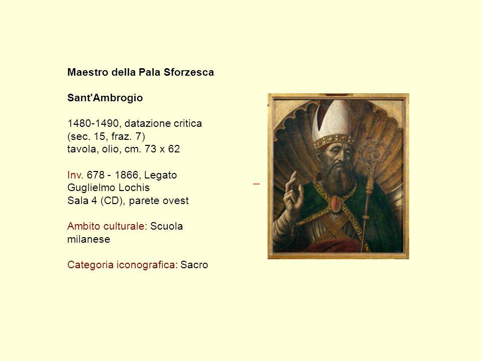 Maestro della Pala Sforzesca Sant Ambrogio 1480-1490, datazione critica (sec.