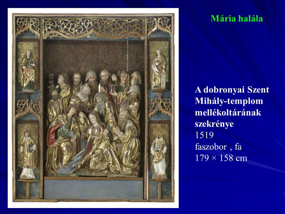Trónoló Madonna Szent Péter, Pál, Ferenc és Domonkos között A csíksomlyói ferences templom főoltárának középképe 1510-1520 k.
