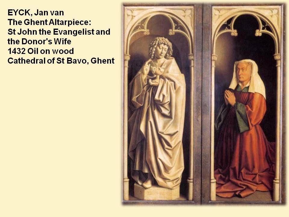 A kép előterében Mária egy nyi- tott, gótikus szoborfülkében ül, mögötte titokzatos, keleties, kupolás épület (utalás az Új-, illetve az Ószövetség világára).
