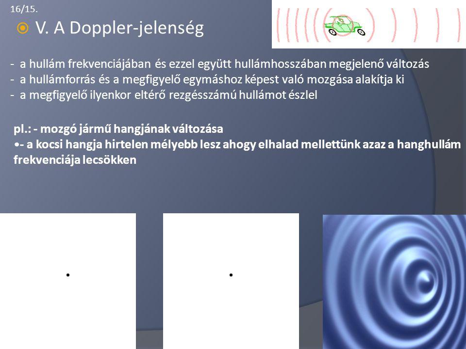 16/15.  V. A Doppler-jelenség - a hullám frekvenciájában és ezzel együtt hullámhosszában megjelenő változás - a hullámforrás és a megfigyelő egymásho